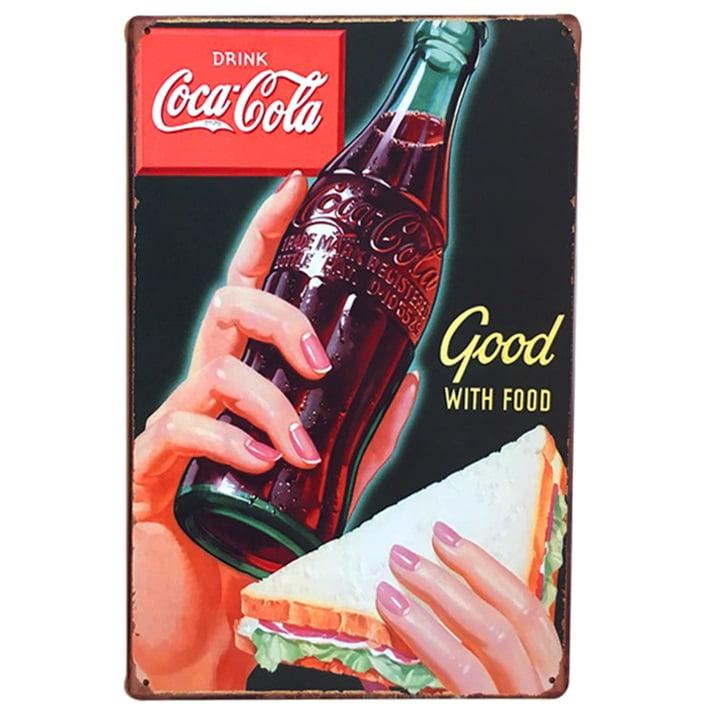 PLACA METAL COCA-COLA GOOD WITH FOOD
