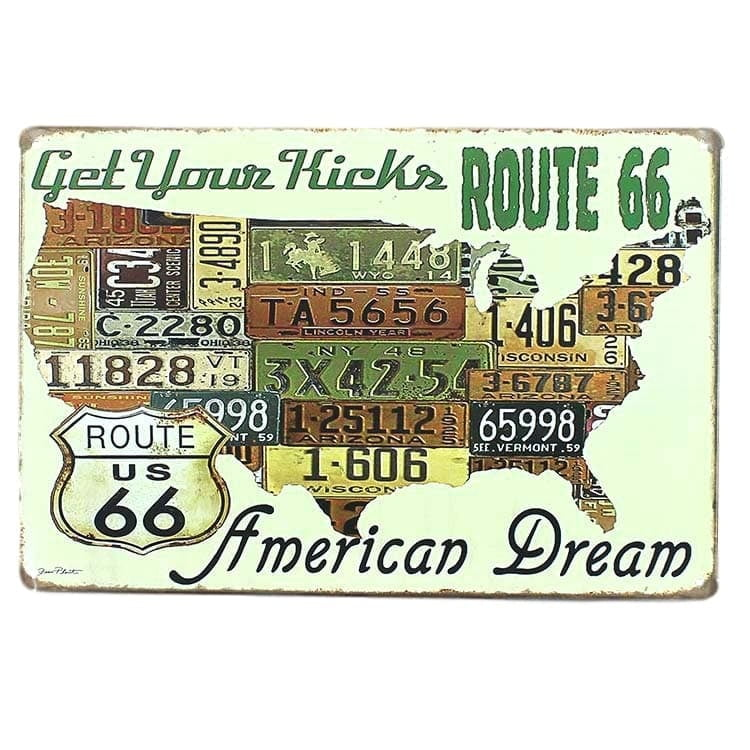 PLACA METAL ROUTE 66 AMERICAN DREAM