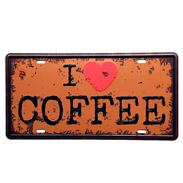 PLACA METAL I LOVE COFFEE