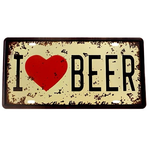 PLACA DECORATIVA METAL I LOVE BEER