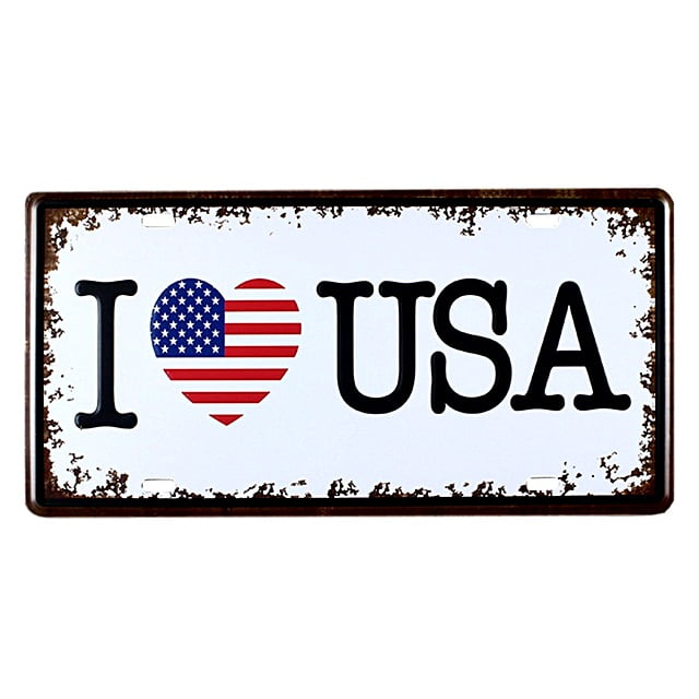 PLACA DECORATIVA METAL I LOVE USA