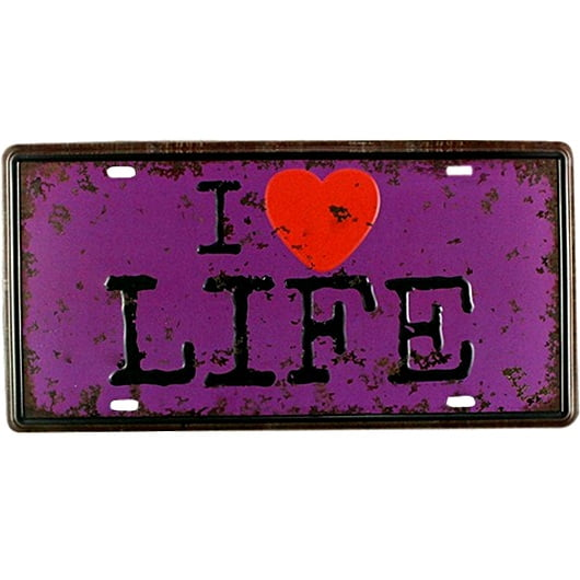 PLACA DECORATIVA METAL I LOVE LIFE