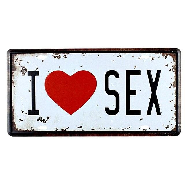 PLACA DECORATIVA METAL I LOVE SEX
