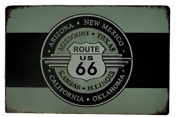 PLACA METAL ROUTE 66 ref.14027