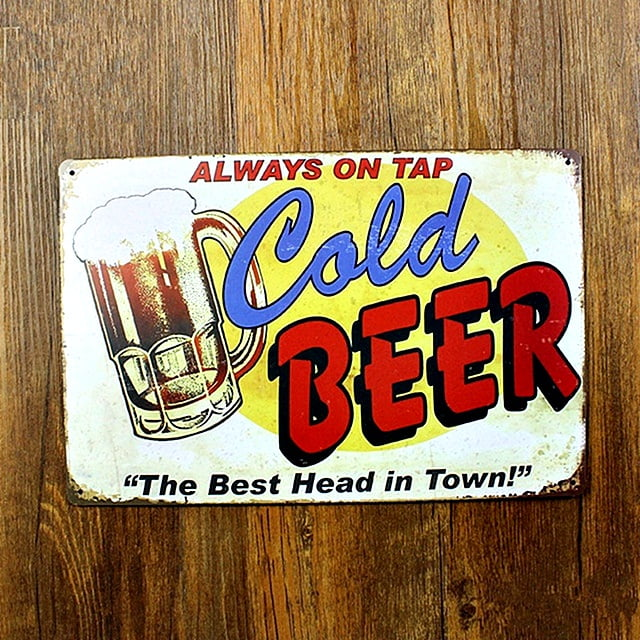 PLACA DECORATIVA METAL COLD BEER