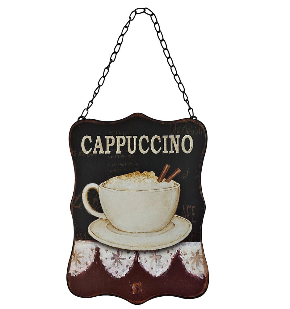 PLACA METAL DECORATIVA CAPPUCCINO QUADRO CANTINHO DO CAFÉ