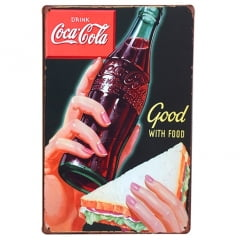 PLACA DECORATIVA METAL COCA-COLA GOOD WITH FOOD
