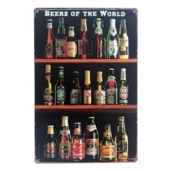 PLACA DECORATIVA METAL BEERS OF THE WORLD