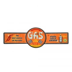 PLACA DECORATIVA DE METAL GAS STATION 64x21cm