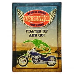 QUADRO DECORATIVO 39x54cm MOTO GAS STATION METAL