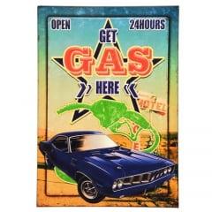 QUADRO METAL CARRO GAS HERE