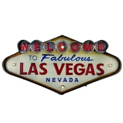 PLACA DECORATIVA COM LED WELCOME LAS VEGAS