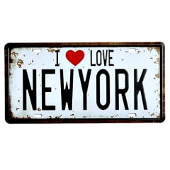PLACA DECORATIVA METAL I LOVE NEW YORK