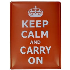 PLACA DECORATIVA METAL KEEP CALM VERMELHA 30x40cm