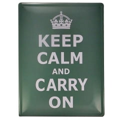 PLACA DECORATIVA METAL KEEP CALM VERDE