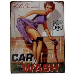 PLACA METAL PIN UP CAR WASH