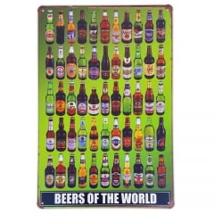 PLACA DECORATIVA METAL BEERS OF THE WORLD I
