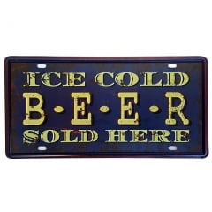 PLACA DECORATIVA METAL ICE COLD BEER