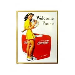 PLACA METAL COCA COLA WELCOME PAUSE