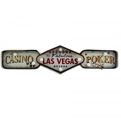 PLACA DECORATIVA COM LED LAS VEGAS POKER