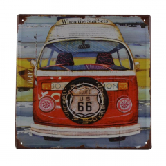 PLACA METAL KOMBI ROUTE 66