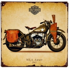 Placa Metal Harley-Davidson WLA ARMY