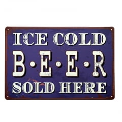 PLACA DECORATIVA METAL ICE COLD BEER 30x20 cm