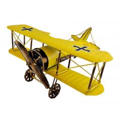 Avião Réplica Decoração Vintage 26 cm AMARELO