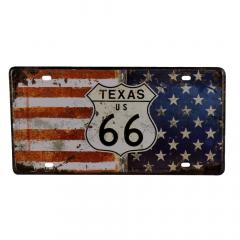 PLACA METAL TEXAS US 66