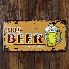 PLACA DECORATIVA METAL COLD BEER SERVED HERE