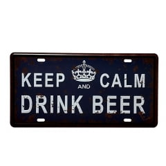 PLACA DECORATIVA METAL KEEP CALM AND DRINK BEER