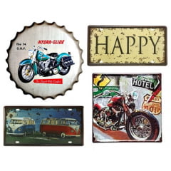 PLACAS DECORATIVAS KIT 4 PEÇAS - KIT HAPPY