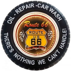 PLACA DECORATIVA COM LED PNEU ROUTE 66 CONTROLE REMOTO